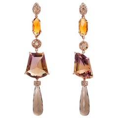 Ugolini Rose Gold 0.70 Karats Grey Diamonds Ametrine Citrine Dangle Earrings