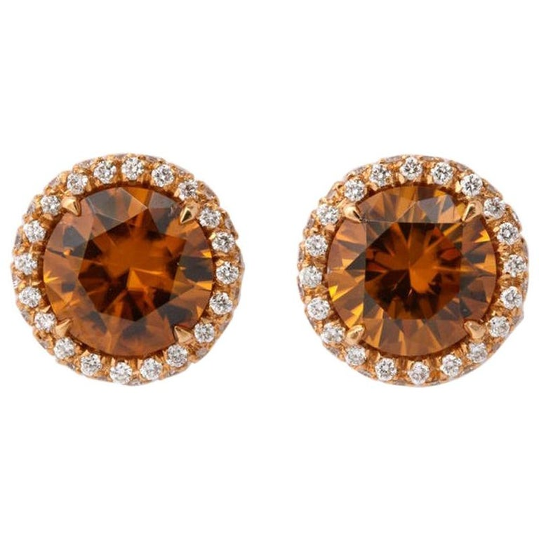 Rose Gold Brown Zircon Diamond Stud Earrings For Sale At 1stdibs
