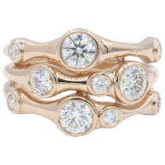 Rose Gold Bubble Ring, 1.34 Carat
