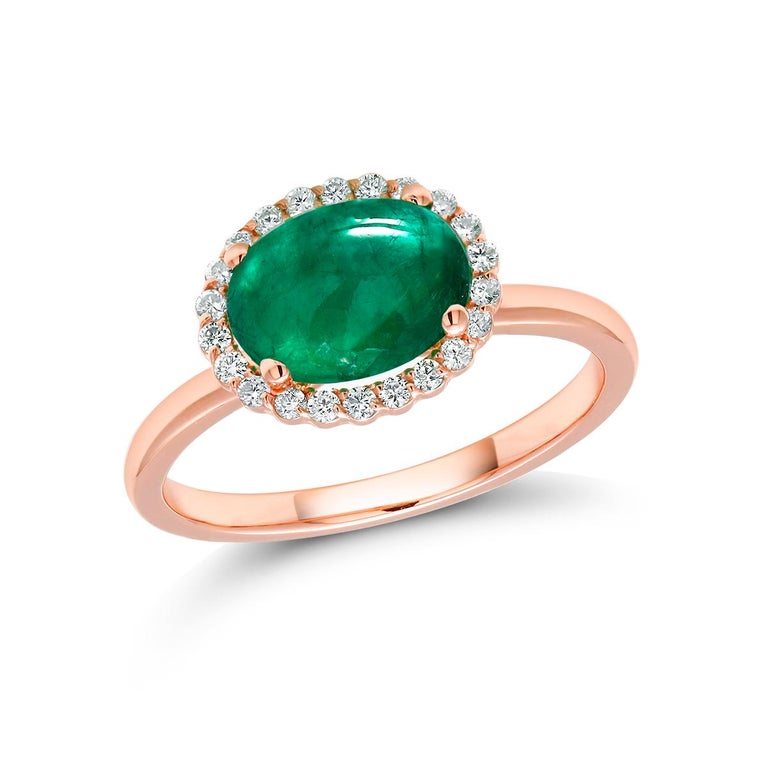 Contemporary Rose Gold Cabochon Emerald and Diamond Fashion Ring For Sale