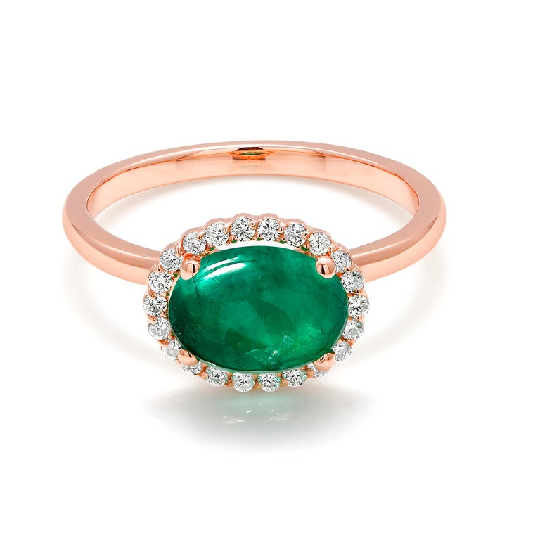 Oval Cut Rose Gold Cabochon Emerald and Diamond Fashion Ring For Sale