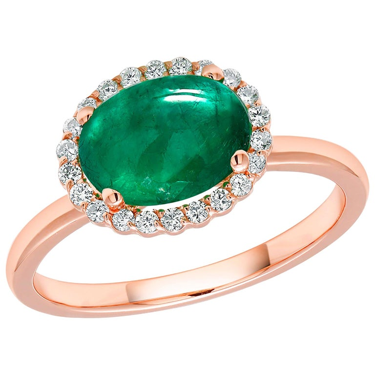 Rose Gold Cabochon Emerald and Diamond Fashion Ring For Sale