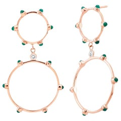 Rose Gold Cabochon Emerald Diamond Drop Circle Earrings 1.75 Inches Length