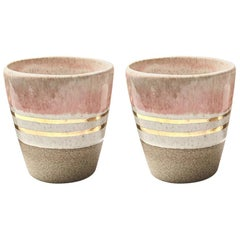 Rose Gold Ceramic Cortado Cups with 22-Karat Gold Luster by Kim Brown