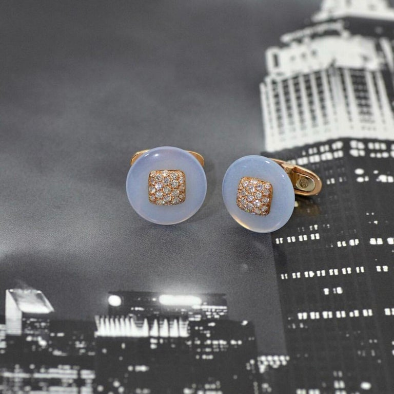 Women's or Men's Diamond Rose Gold Chalcedony Cufflinks  For Sale
