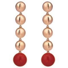 Rose Gold Coral Dangle Earrings
