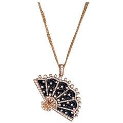 Rose Gold, Diamond and Enamel Fan Pendant Necklace