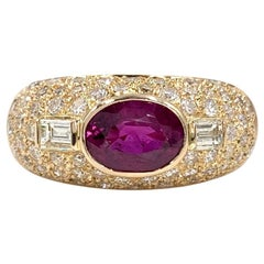 Rose Gold Diamond and Ruby Low Dome Ring