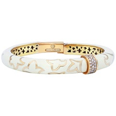Rose Gold Diamond and White Enamel Bangle