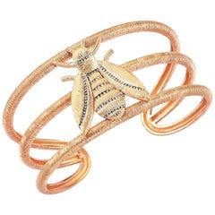 Rose Gold Diamond Bee Cuff Bracelet