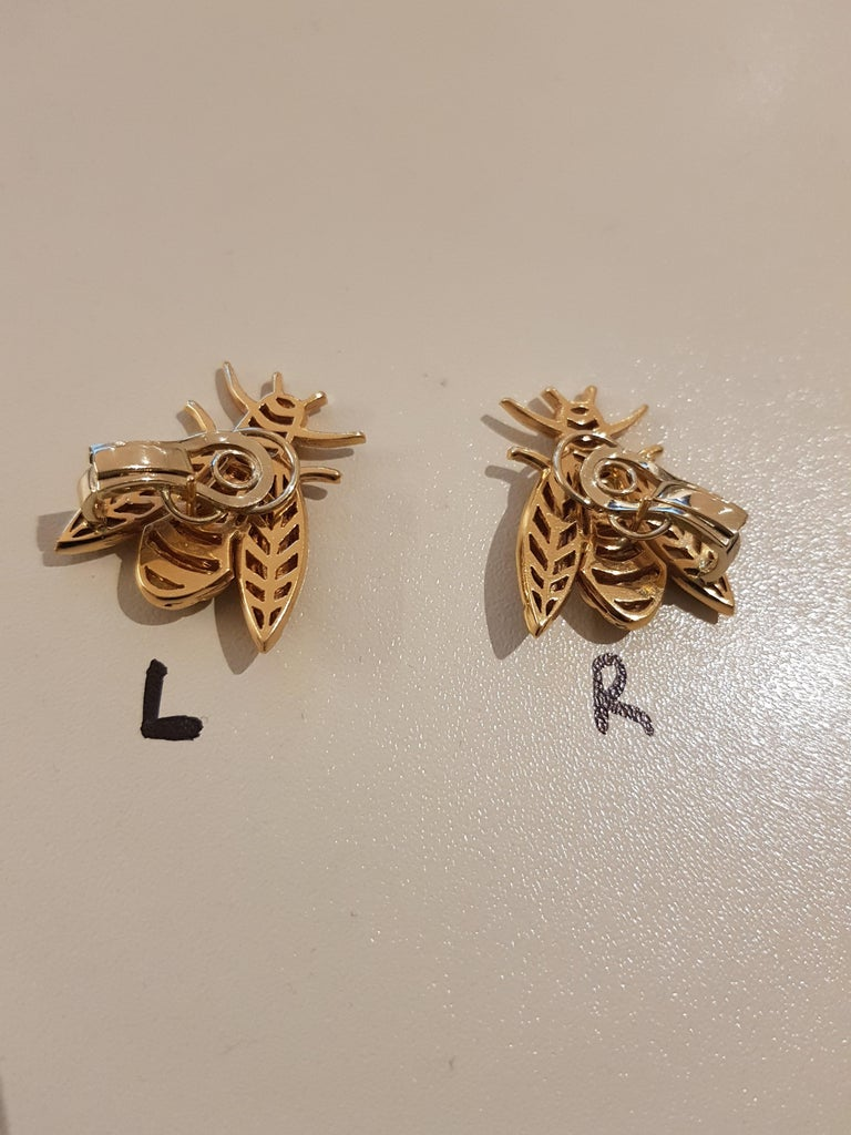 Rose Gold Diamond Bee Stud Earrings For Sale 5