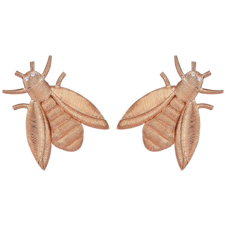 Rose Gold Diamond Bee Stud Earrings For Sale