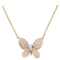 Rose gold Diamond butterfly pendant