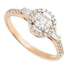 Rose Gold Diamond Cluster Illusion Set Ring 0.54 Carat