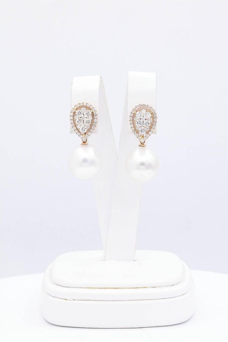 Modern Rose Gold Diamond Cluster Pear shape South Sea Pearl Dangle Drop Earrings For Sale