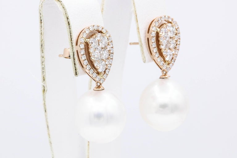 Round Cut Rose Gold Diamond Cluster Pear shape South Sea Pearl Dangle Drop Earrings For Sale
