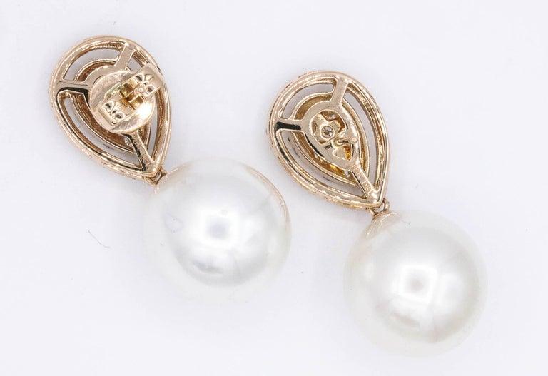 Women's Rose Gold Diamond Cluster Pear shape South Sea Pearl Dangle Drop Earrings For Sale