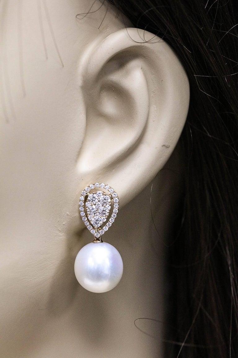 Rose Gold Diamond Cluster Pear shape South Sea Pearl Dangle Drop Earrings For Sale 1