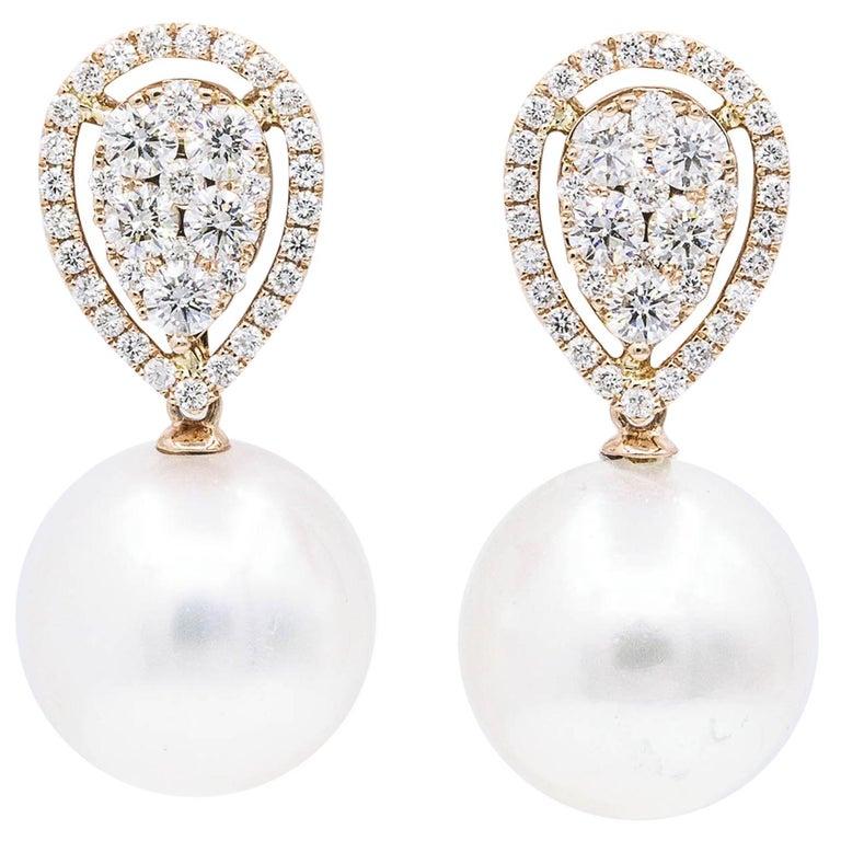 e8f8a4d5c Rose Gold Diamond Cluster Pear shape South Sea Pearl Dangle Drop Earrings  For Sale