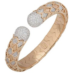 Rose Gold Diamond Cuff Bangle 2.28 Carat