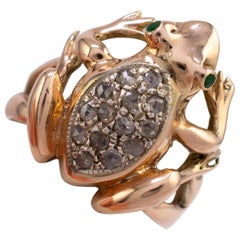 Rose Gold Diamond Emerald Frog Ring Vintage 1970s Fashion Jewelry