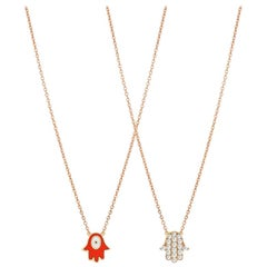 Rose Gold Diamond, Enamel Double Face Hamsa Necklace