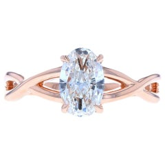 Rose Gold Diamond Engagement Ring, Solitaire Diamond Engagement Ring