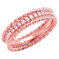 Rose Gold Diamond Eternity Eighteen Karats Rope Designed Band