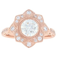 Rose Gold Diamond Flower Halo Ring, 14 Karat Round Brilliant 1.32 Carat GIA