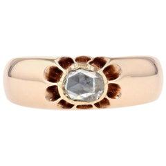 Rose Gold Diamond Georgian Men's Ring, 14 Karat Rose Cut .50 Carat Wedding Band