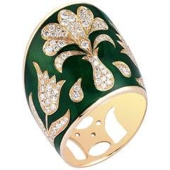 Rose Gold Diamond Green Enamel Ottoman Archer's Ring