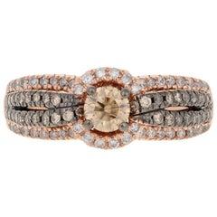 Rose Gold Diamond Ring, 14 Karat Round Brilliant Cut 1.00 Carat Halo