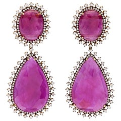 Rose Gold Diamond Slice Ruby Drop Earrings