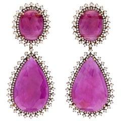 Rotgold Diamant Rubin Ohrringe