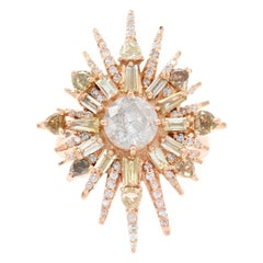 Rose Gold Diamond Starburst Halo Ring, 18k Round Brilliant Cut 2.87ctw