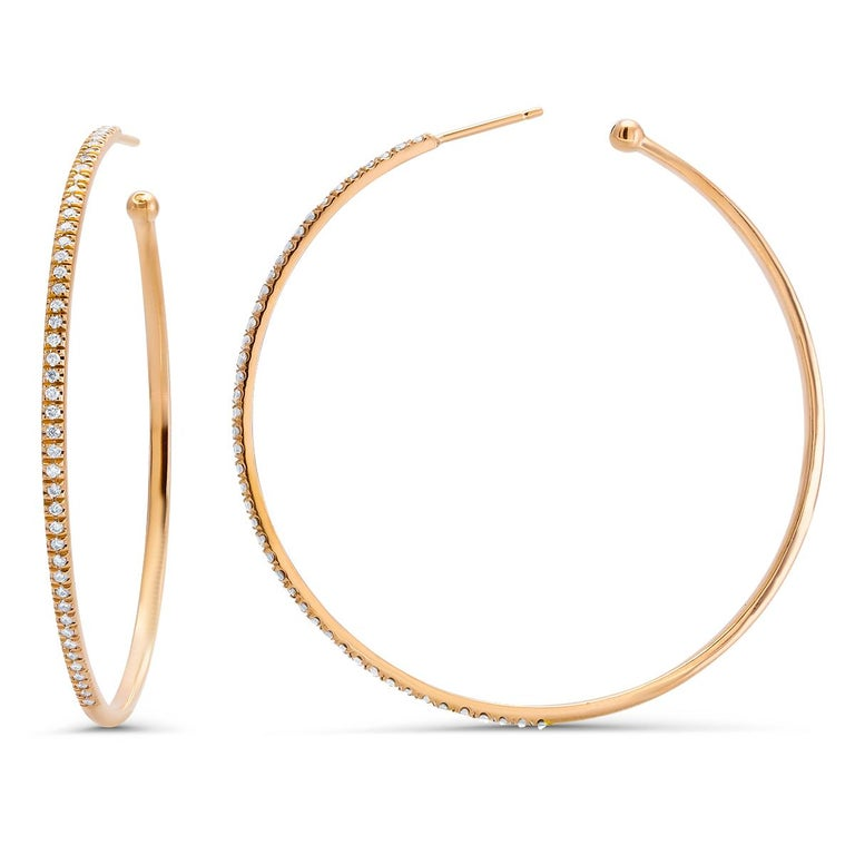 Diamond Hoops Two Inch Diameter 2 Millimeter Width Rose Gold Earrings For Sale 1