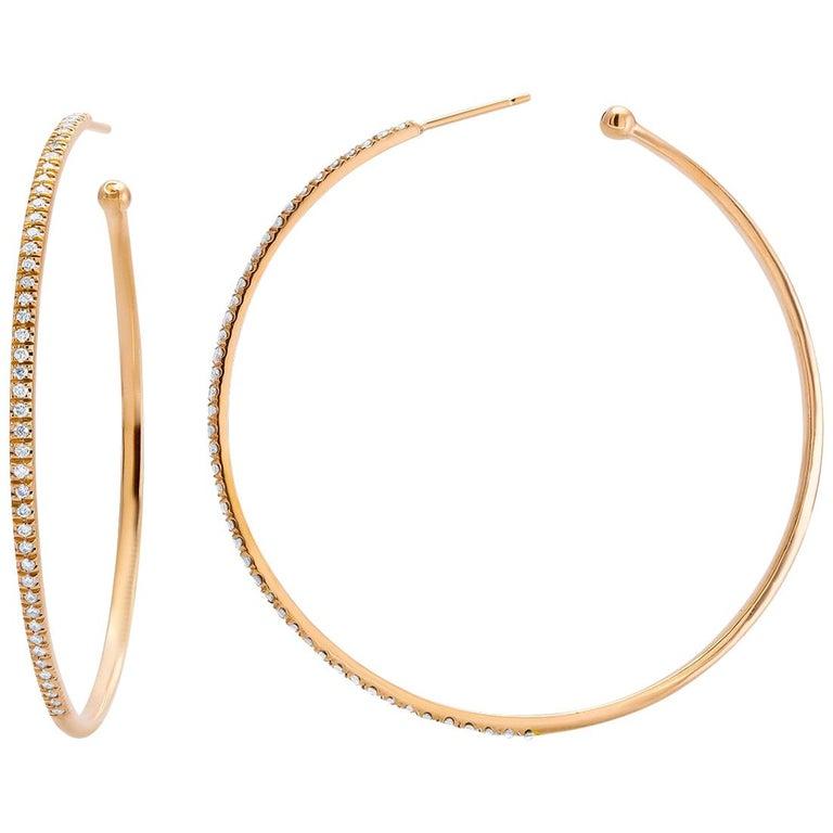 Diamond Hoops Two Inch Diameter 2 Millimeter Width Rose Gold Earrings For Sale