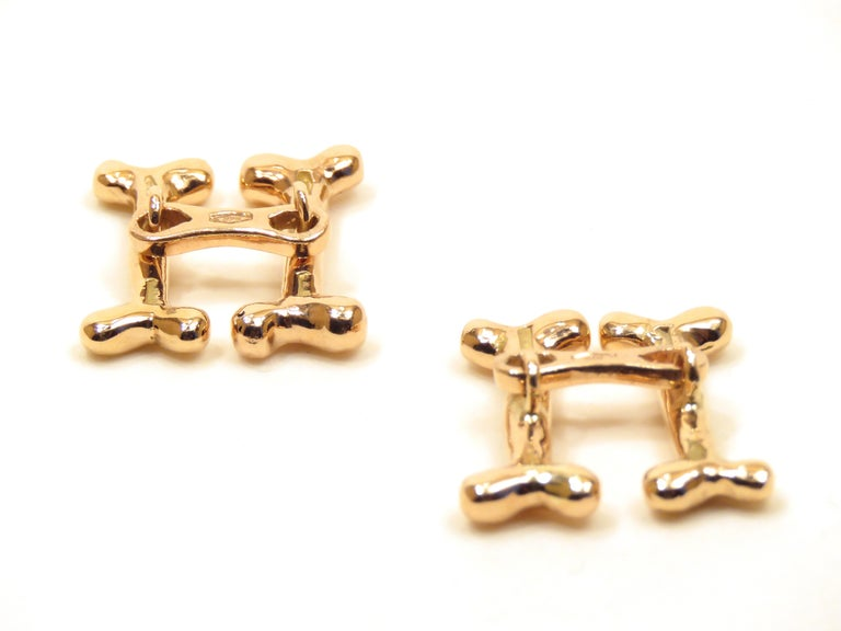 Modern Rose Gold Dog Bone Cufflinks Handcrafted in Italy by Botta Gioielli For Sale