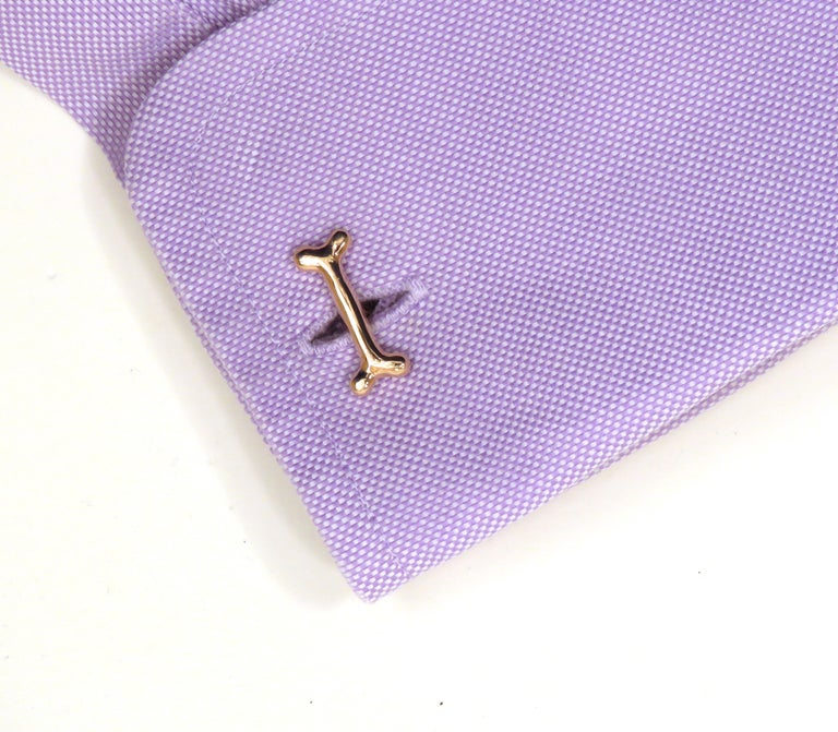 Rose Gold Dog Bone Cufflinks Handcrafted in Italy by Botta Gioielli In New Condition In Milano, IT