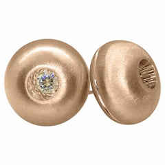 Rose Gold Dome Stud Earrings with White Sapphire