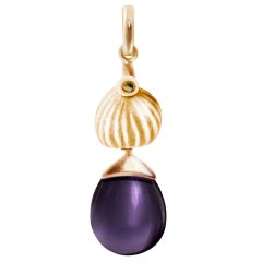 Rose Gold Drop Pendant Necklace with Amethyst by the Artist