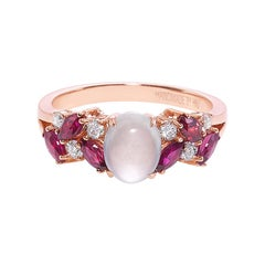 Rose Gold Engagement Ring Set with White Jade, Marquise Rubies and Diamond