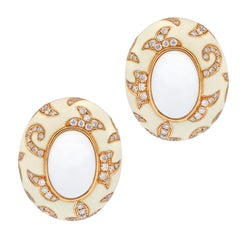 Rose Gold Fashion Diamond and White Enamel Earrings