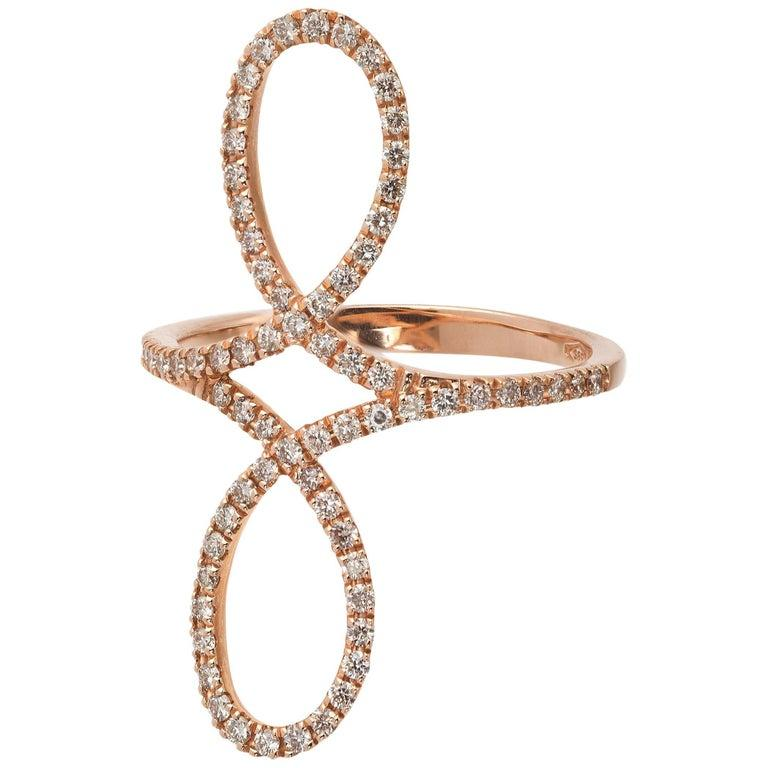 Rose Gold Fashion Ring with Diamonds  In New Condition For Sale In New York, NY