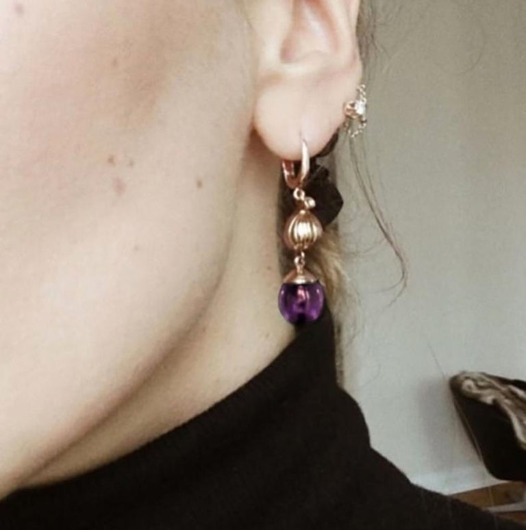 Pear Cut Rose Gold Fig Cocktail Earrings with Amethysts and Diamonds by the Artist For Sale