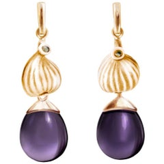 Rose Gold Fig Cocktail Earrings with Amethysts and Diamonds by the Artist