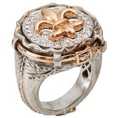 Rose Gold Fleur de Lys and white Diamond Jeans Ring