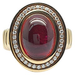 Rose Gold Flex Ring with a 10 Carat Bordeaux Red Tourmaline and 36 Diamonds