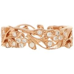 Rose Gold Floral Diamond Ring 0.53 Carat