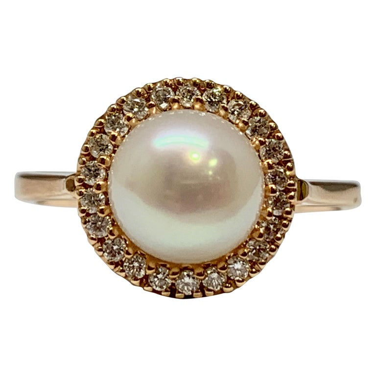 Pearl And Diamond Engagement Rings: Rose Gold Freshwater Pearl And 0.16 Carat Diamond